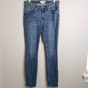 H&M Jeans | star printed skinny Pants faded size31
